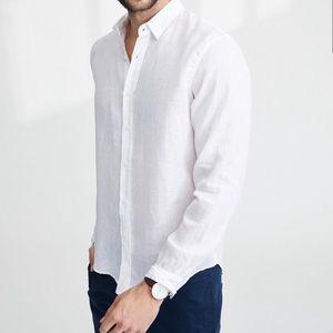 Frank & Eileen 100% Linen White Paul Shirt Large